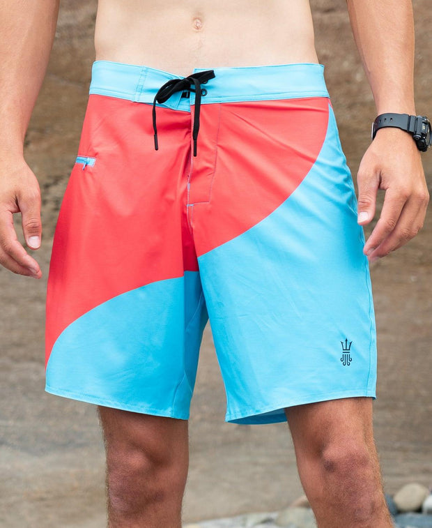 Mens Boardshorts Wetsuit Lined Surf Shorts Drifties Bottom Turn Blue