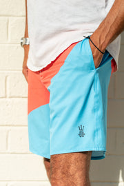 mens boardshorts surf shorts bottom turn blue driftline