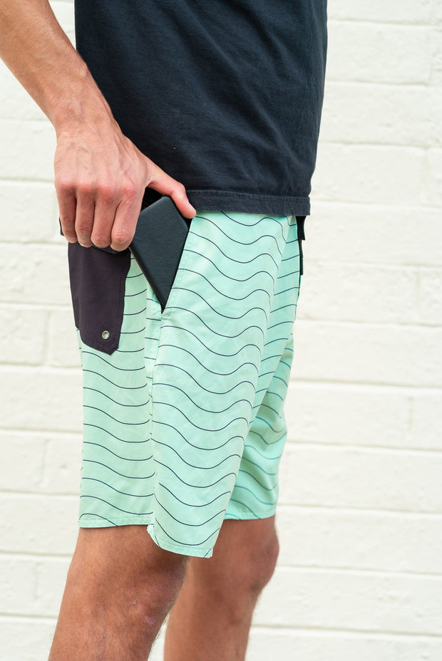mens boardshorts surf shorts seafoam green driftline