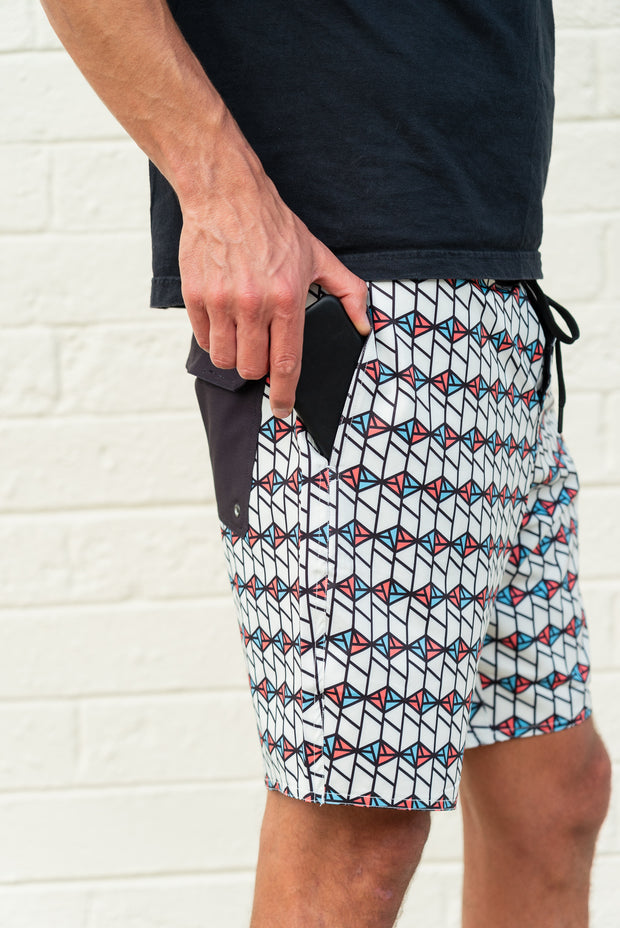mens boardshorts surf shorts spindrift white driftline