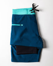 Mens Boardshorts Wetsuit Lined Surf Shorts Drifties Big Sur Blue