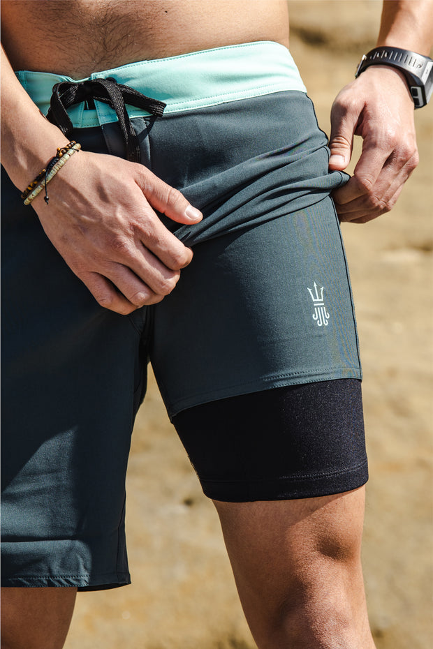 Mens Boardshorts Wetsuit Lined Surf Shorts Drifties Manta Gray