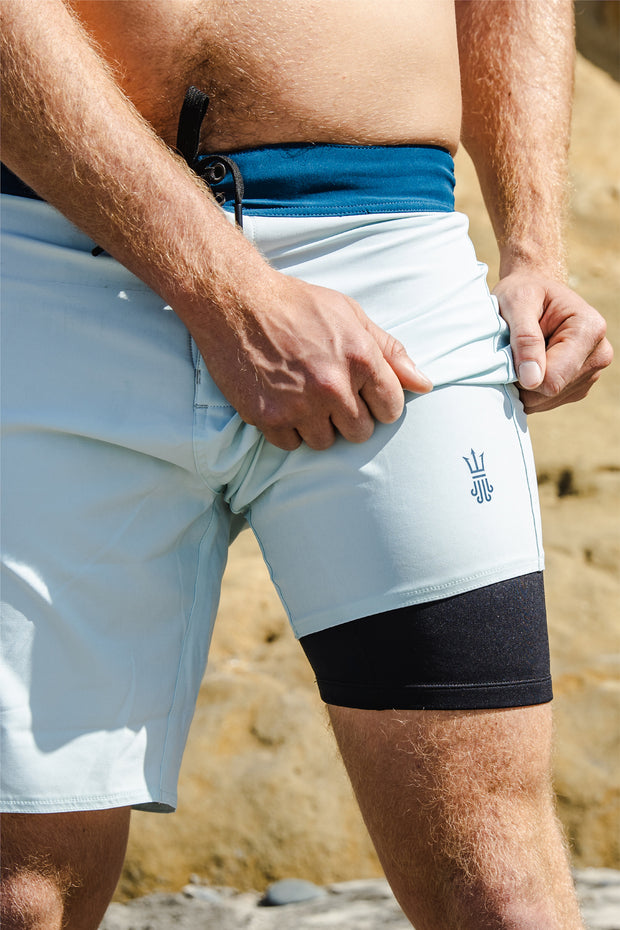 Mens Boardshorts Wetsuit Lined Surf Shorts Drifties Whalebone Blue