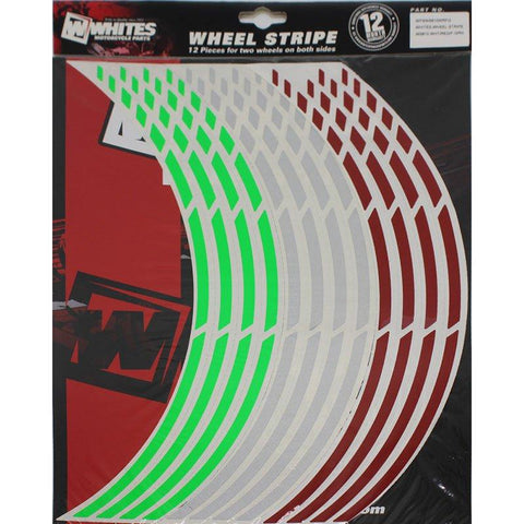 WHITES WHEEL STRIPE WS810 WHT/RED/F-GRN - NON REFLECTIVE 17""