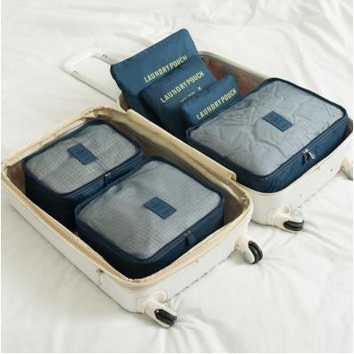 6 Set Packing Cubes with Shoe Bag - Travel Carry On Luggage Organizer