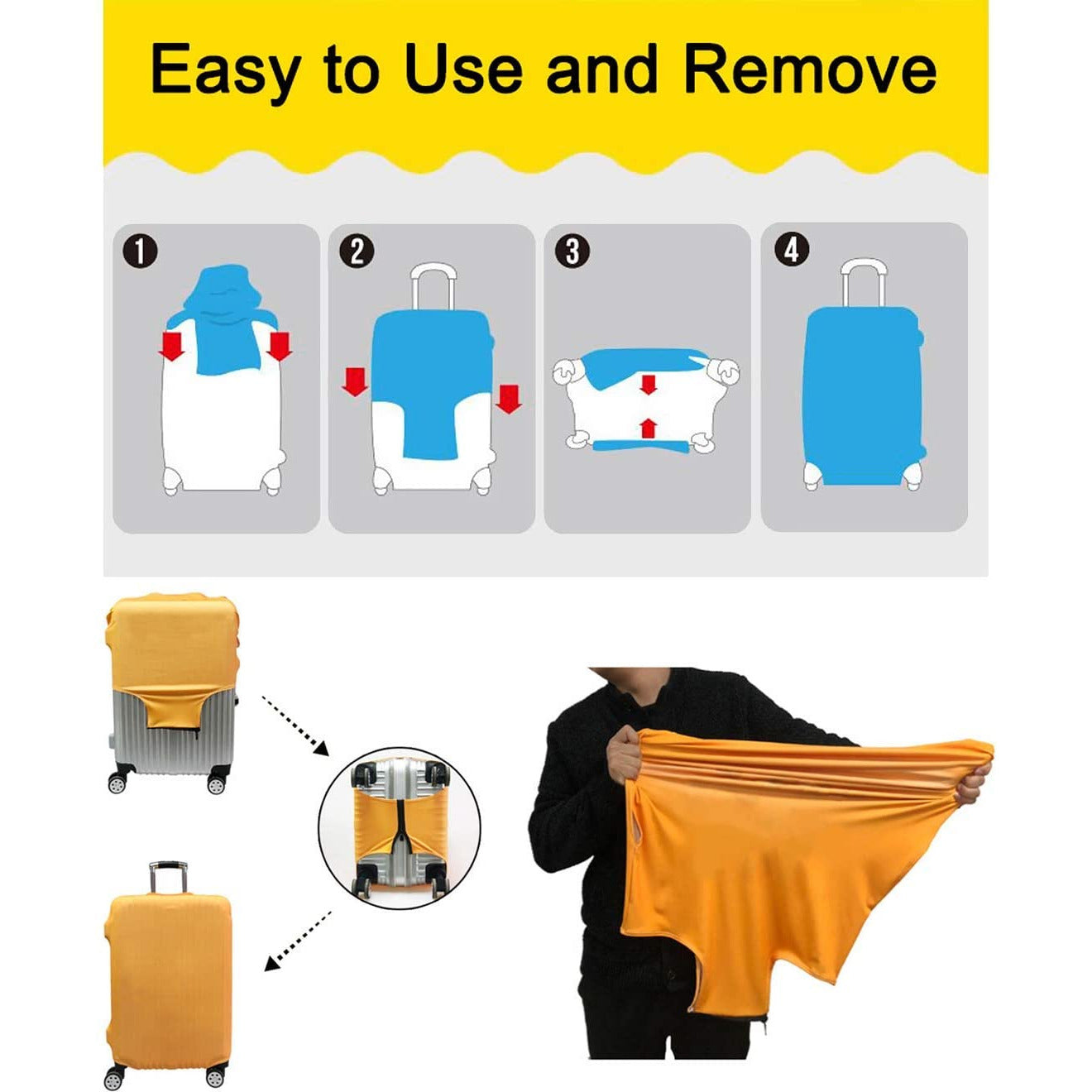 Luggage Cover Protector Washable Dust Thicken Elasticity Cover