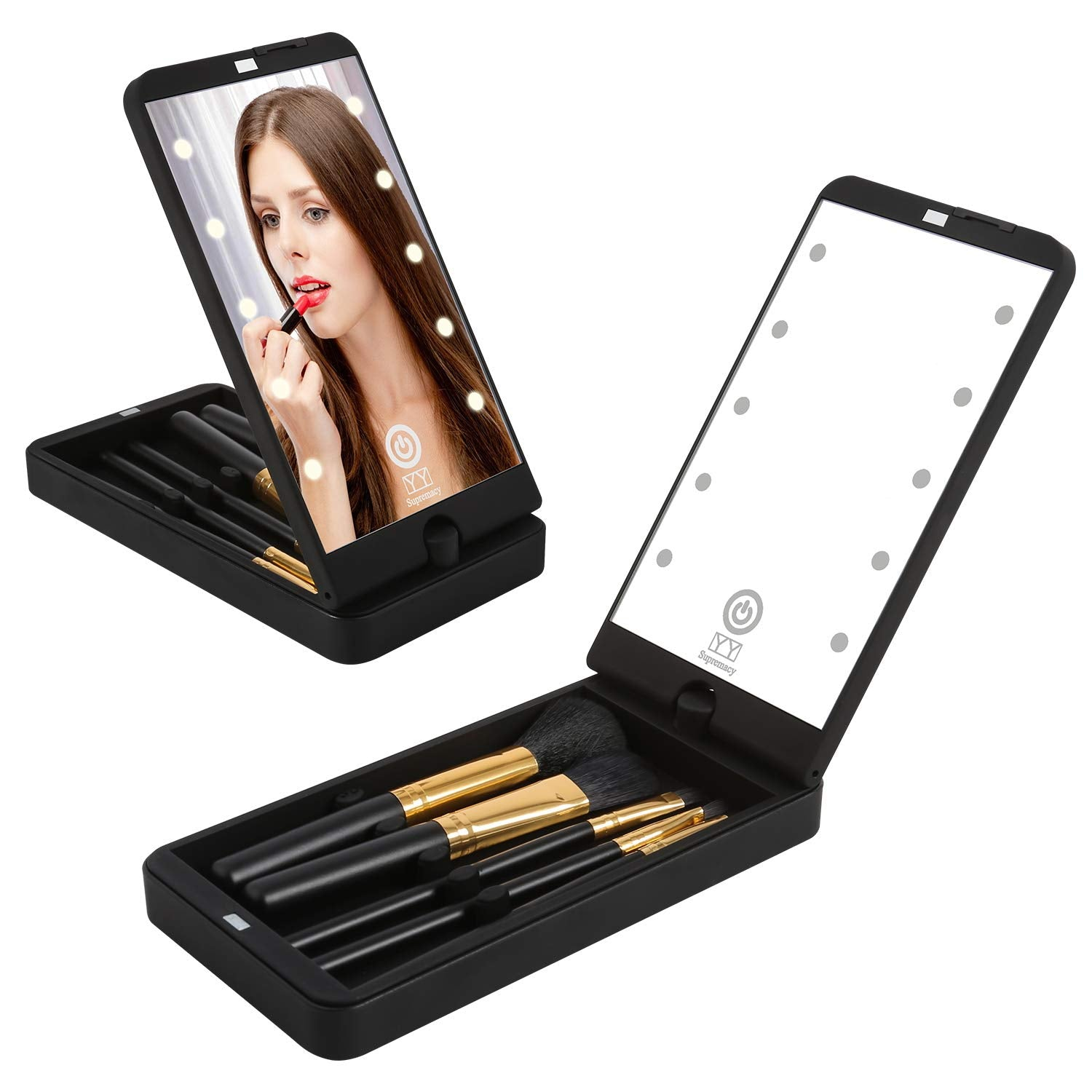 Portable Foldable Cosmetic Make Up Mirror and Brushes