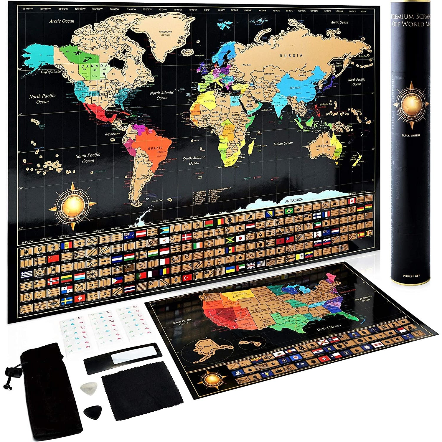 Scratch Off World Map + United State bonus Map