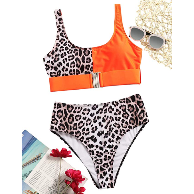 Women's High Waist Leopard Bikini Buckle Front Two Piece Swimsuit