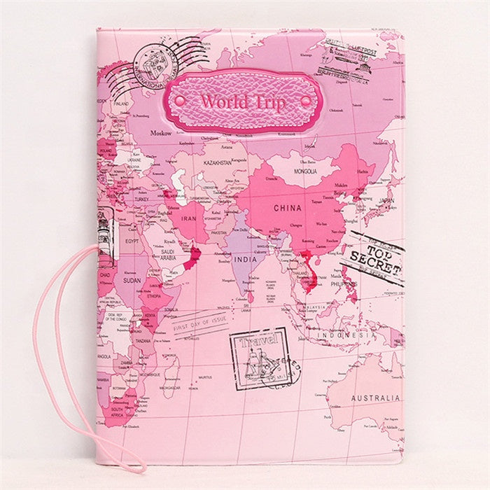 World Map  Pu Leather Passport Cover