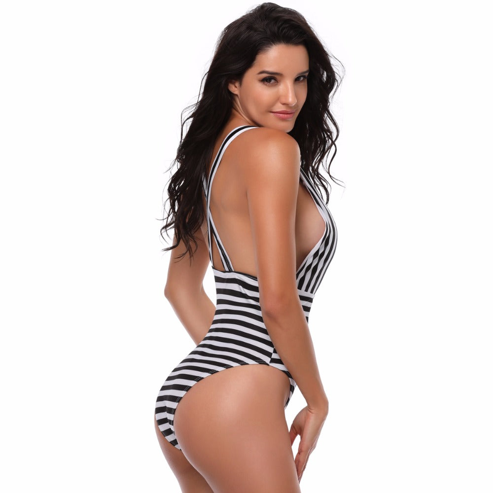 Striped Monokini Lace Up Swimsuit