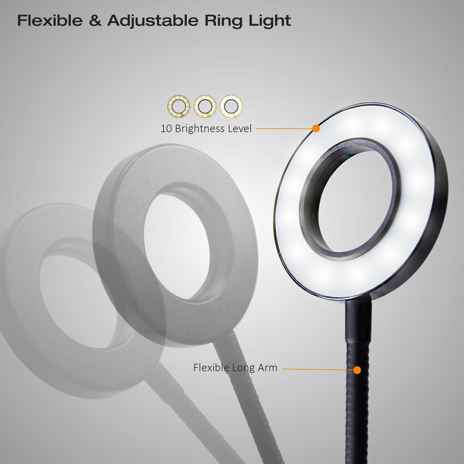 LED Clip Selfie Cellphone Halo Ring Light w/ Holder for streaming