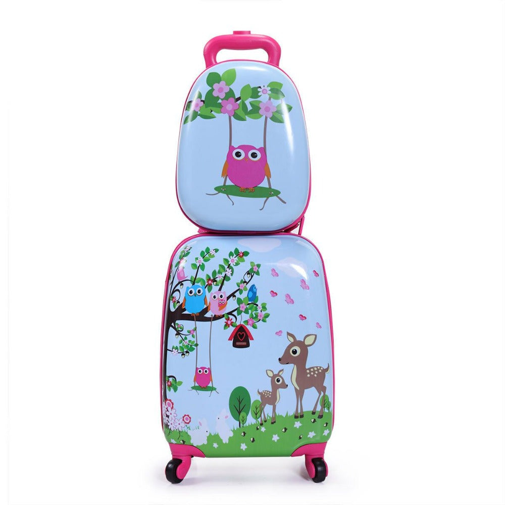 2Pcs Carry On Luggage With Wheels Kids Rolling Suitcase Backpack Cute Travel Set