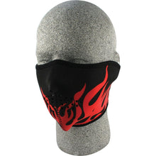 Half Face Mask Red Flames