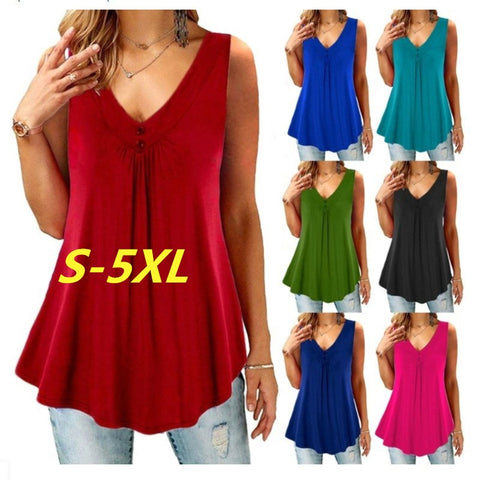 Women Sleeveless V-Neck Casual Tank Tops Plus Size S-5XL
