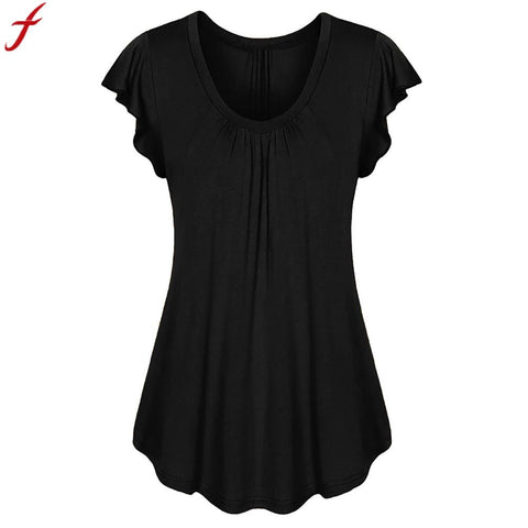 Women  Causal Row Pleated Ruched Tunic Shirt For Women Solid Color Short Sleeve Plus size 5XL 6XL
