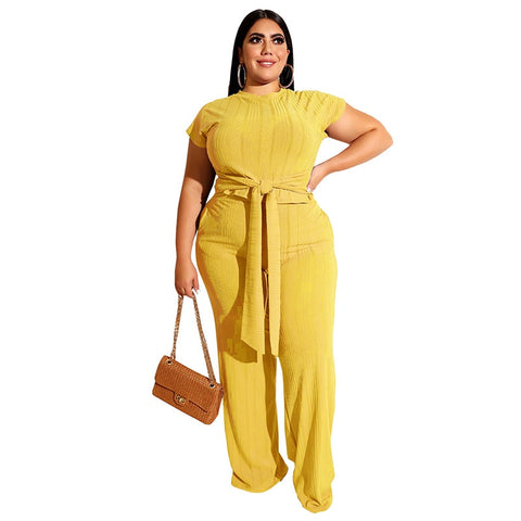 Women 2 Piece Sets Short Sleeve Tops Pantsuits Casual Fashion Trouser Outfits Plus Size 3XL 4XL 5XL