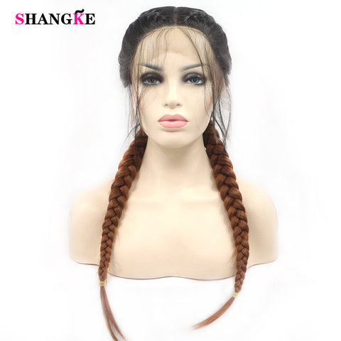 SHANGKE Synthetic Braiding Omber Wigs Lace Front High Temperature Fiber Cosplay