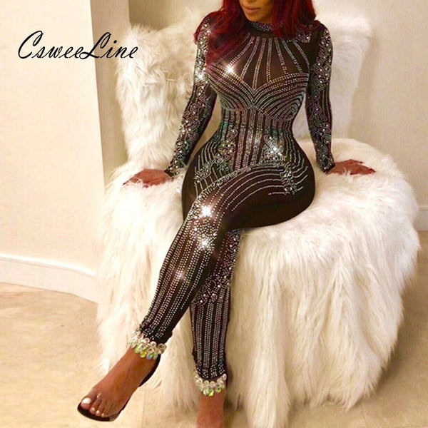 Long Sleeve Rhinestone Mesh Black Jumpsuit Women Fashion Club