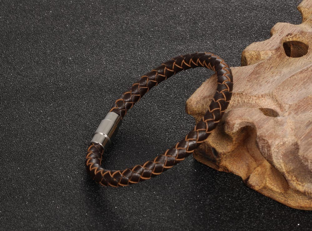 Fusion Woven Leather Bracelet - Brown
