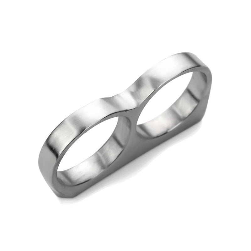 silver double finger ring
