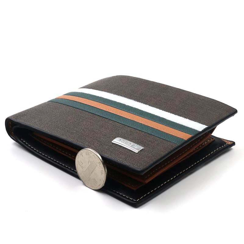 striped wallet - white, orange, green