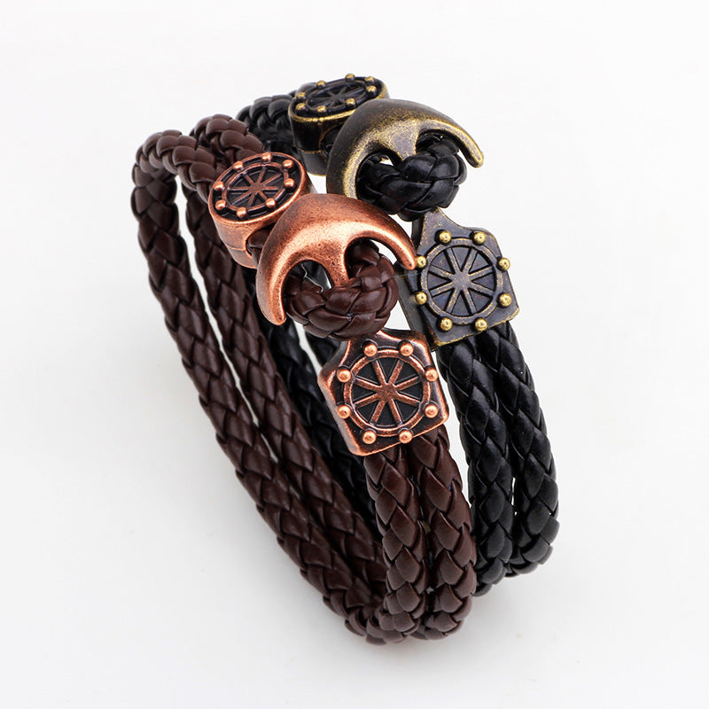 Bronze Leather Anchor Bracelet
