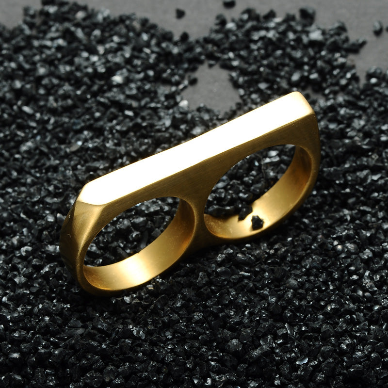 double finger ring - gold