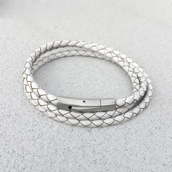 Gleam White Leather Bracelet