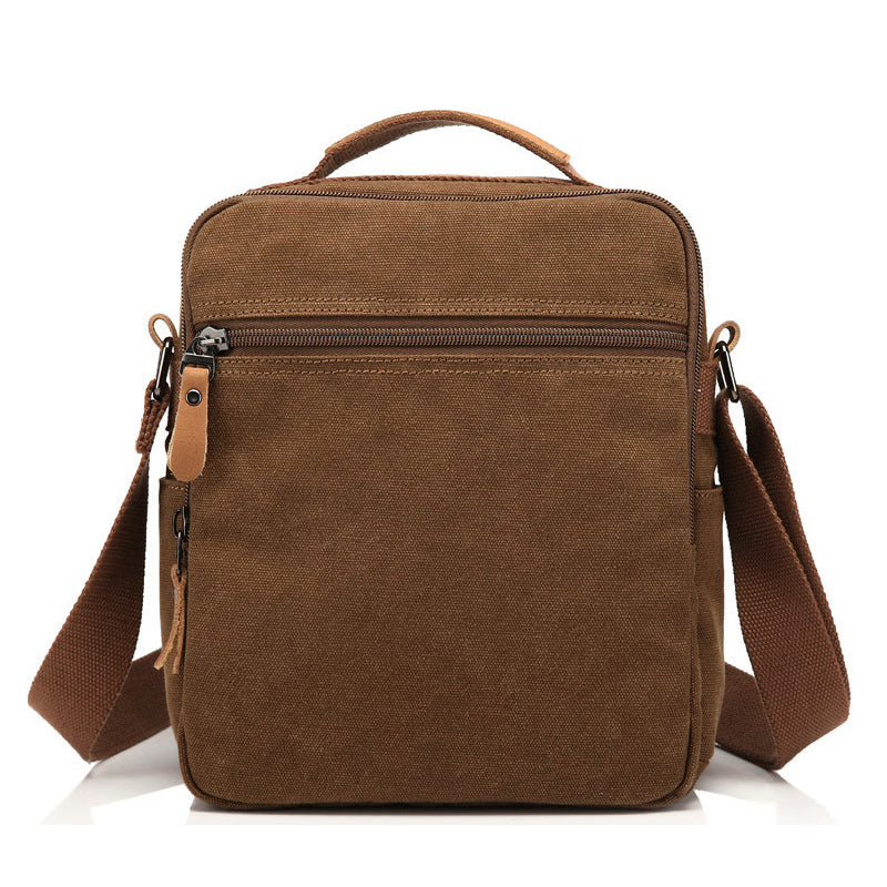 brown canvas shoulder bag