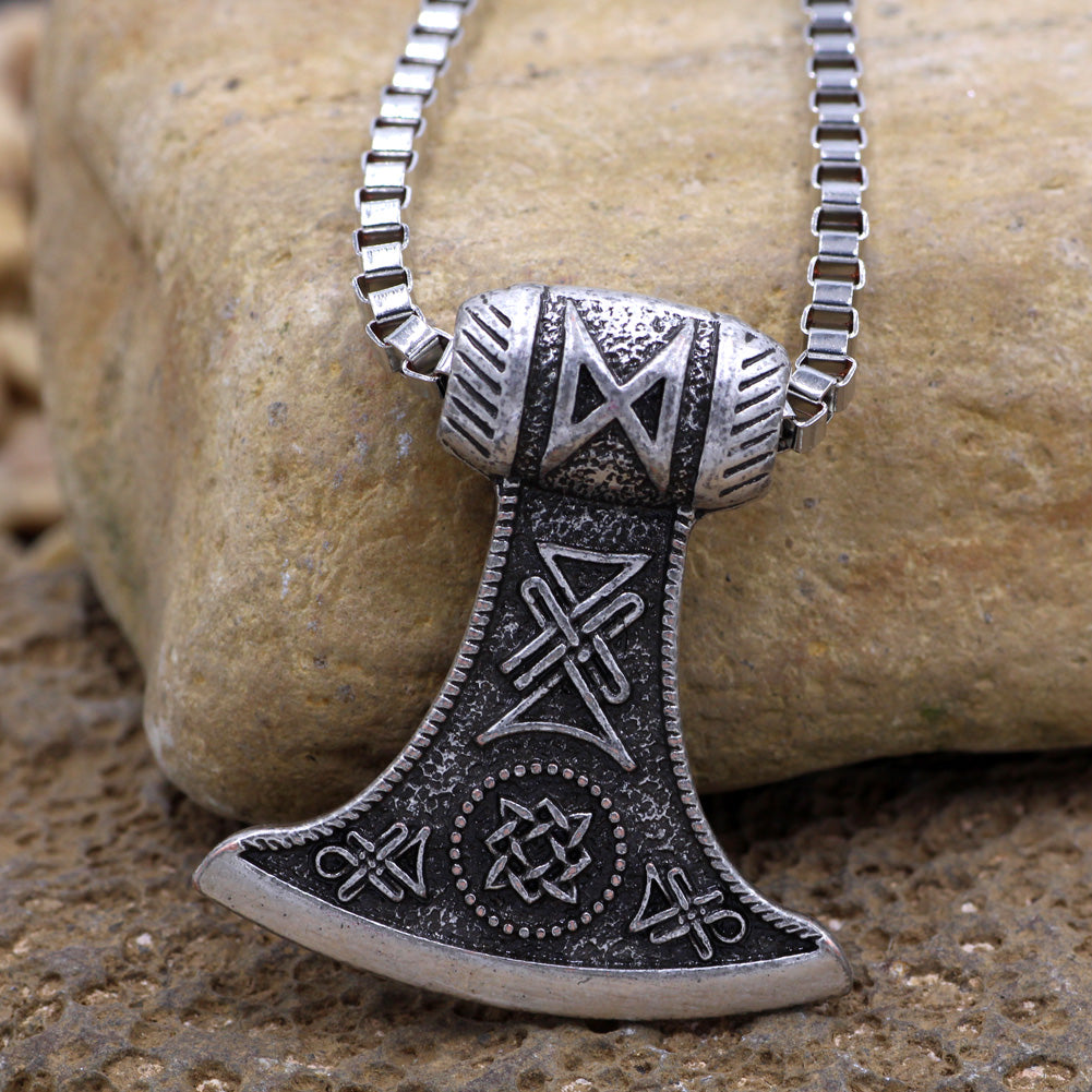 Silver War Axe Necklace
