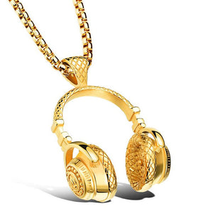 Gold Headphone Necklace
