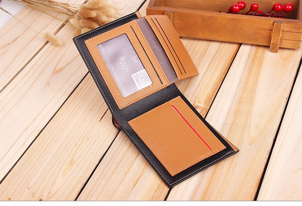 bifold striped wallet