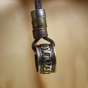 Totem Ring Leather Necklace
