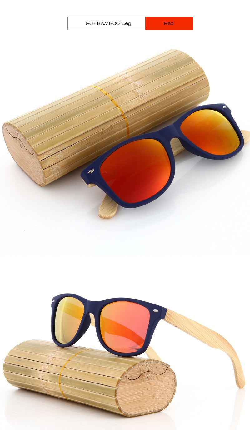 Red Lens Wooden Sunglasses