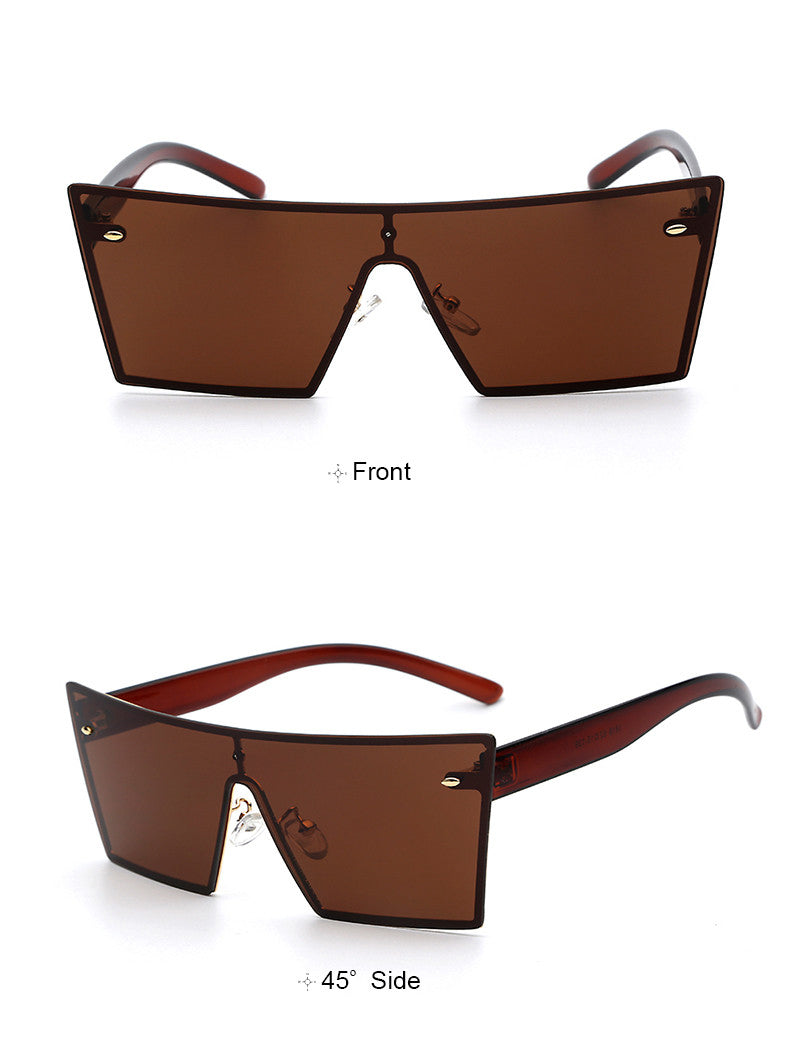 Brown Mens Rectangle Sunglasses