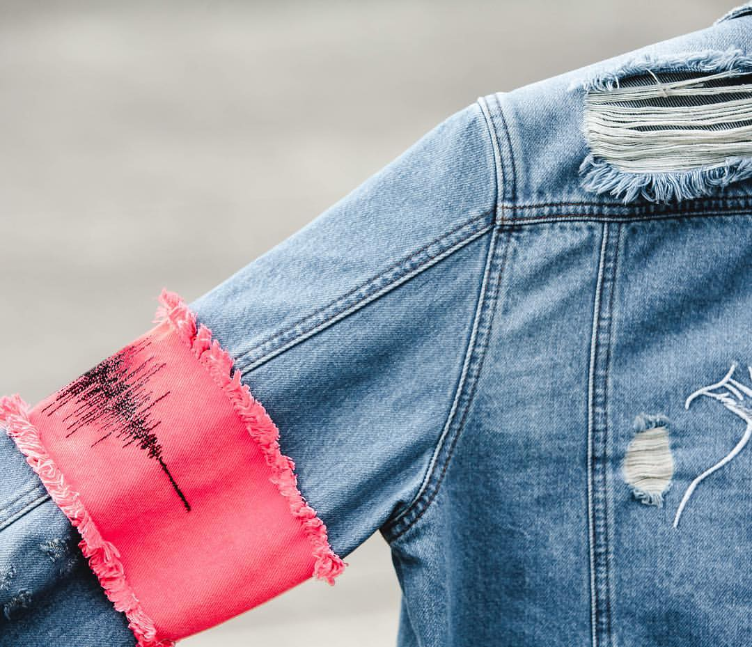 arm band denim jacket