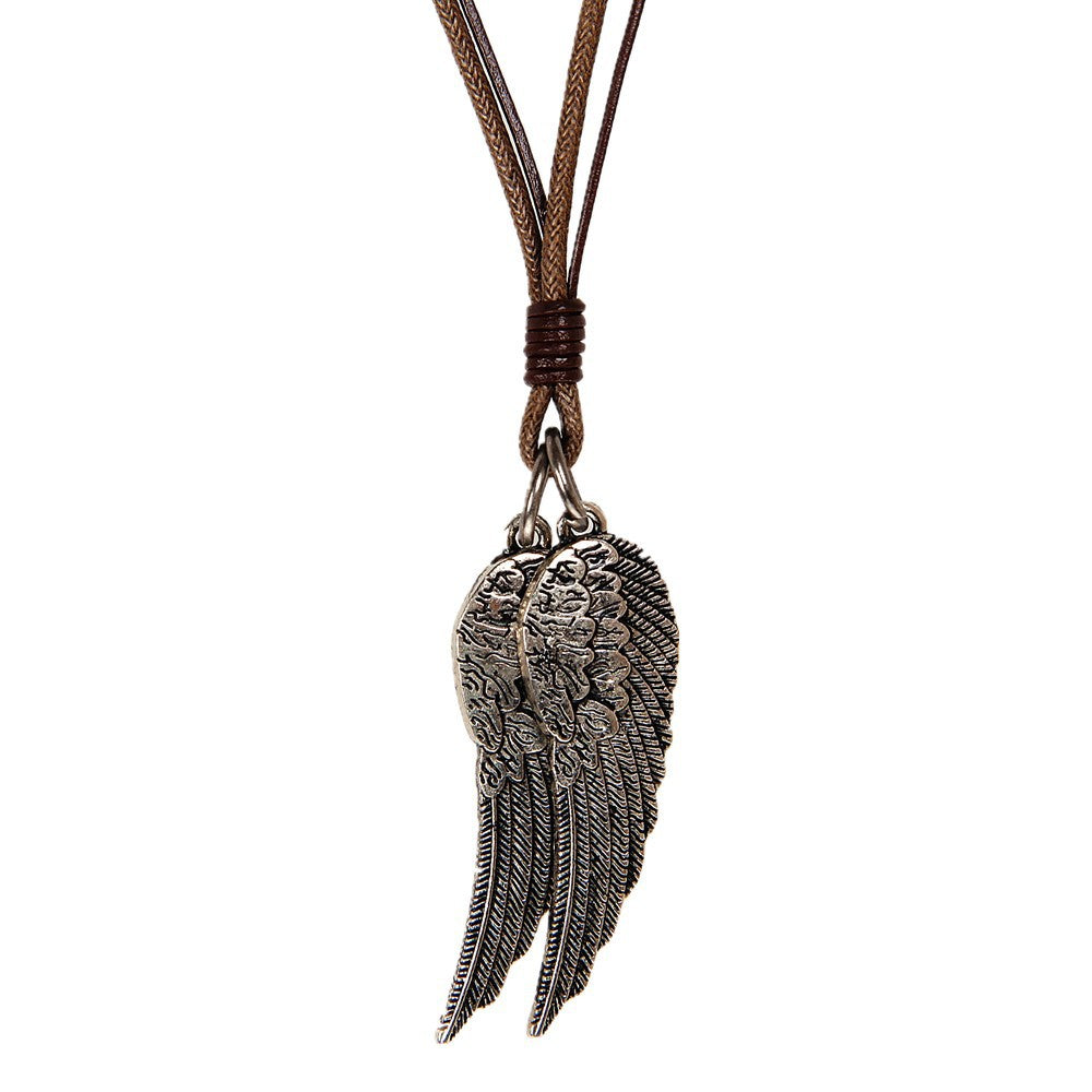 angel wings leather necklace for men
