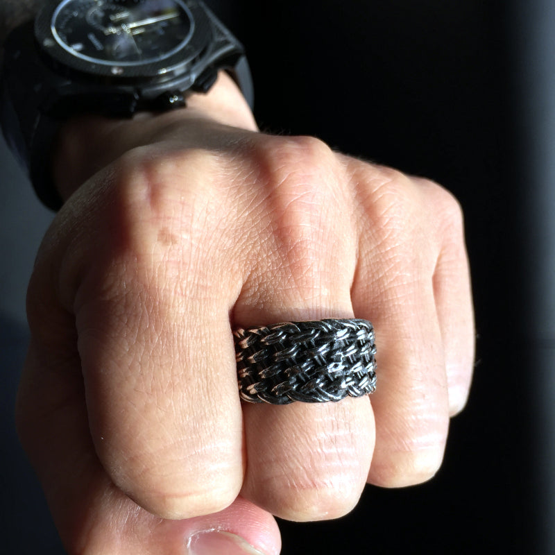 titanium barbed wire ring