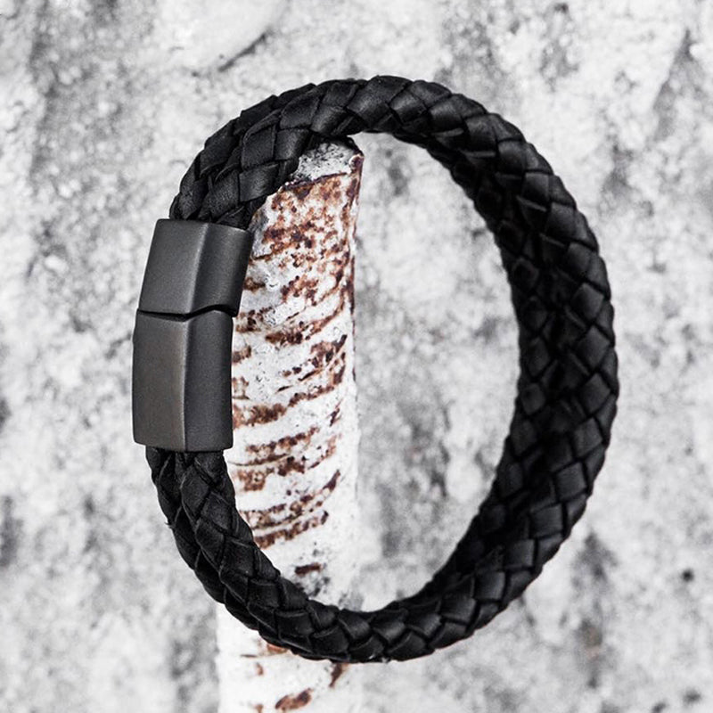 Binary Dual Braided Leather Bracelet
