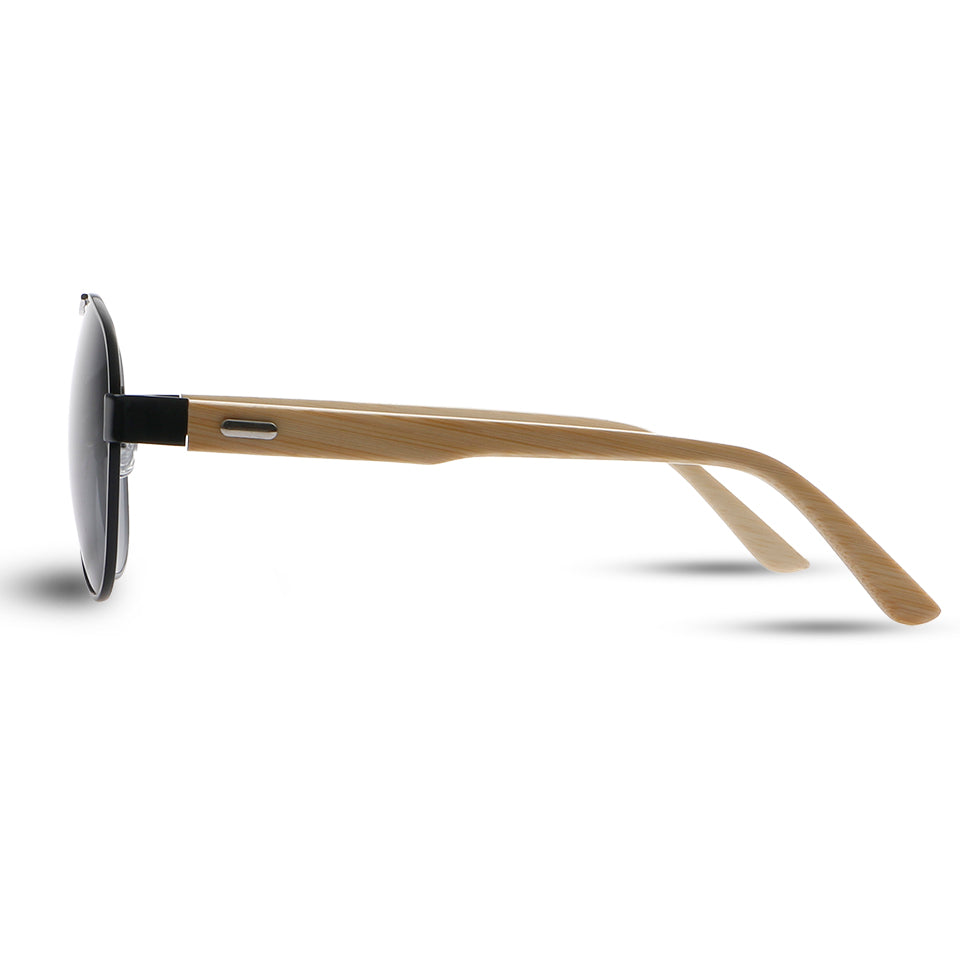 Wooden Frame Mirrored Aviator Sunglasses