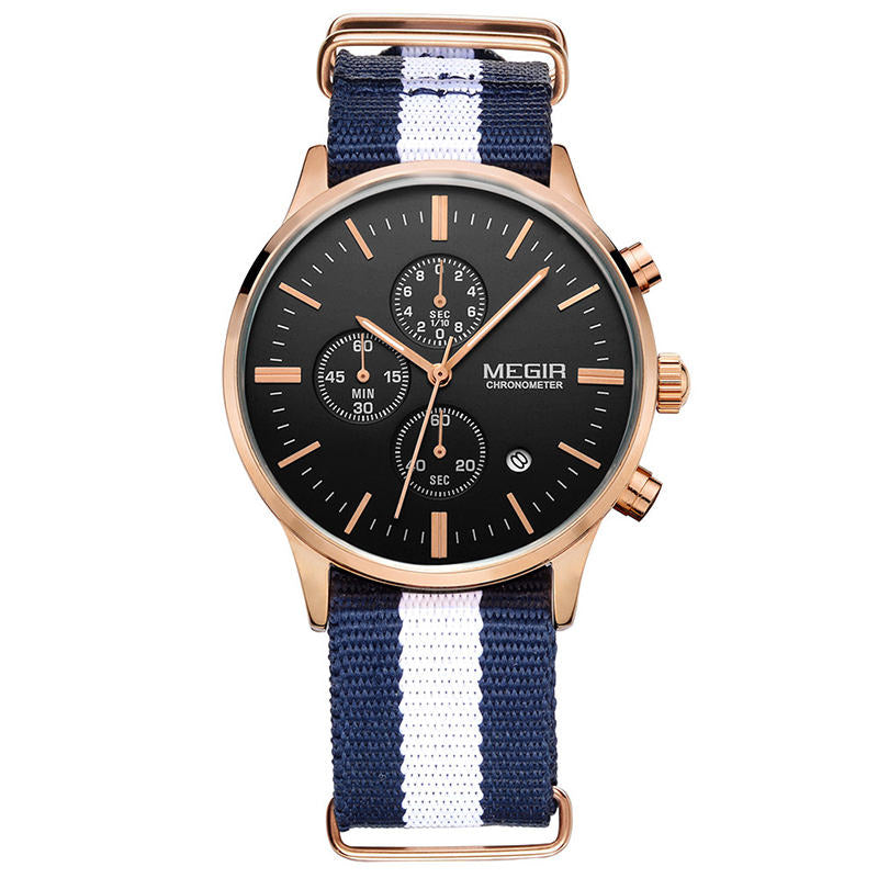 Blue and White Chronograph Watch