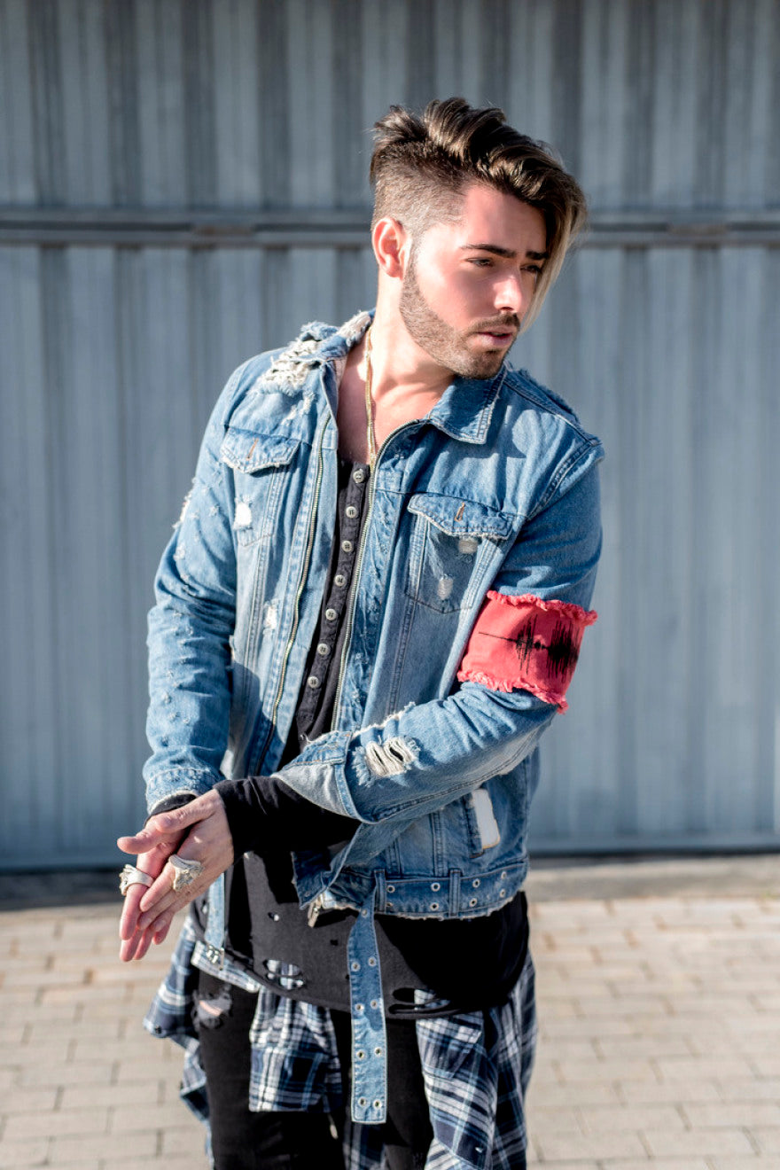 distressed trucker jacket
