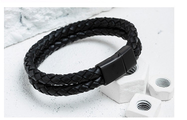 Dual Braided Leather Bracelet