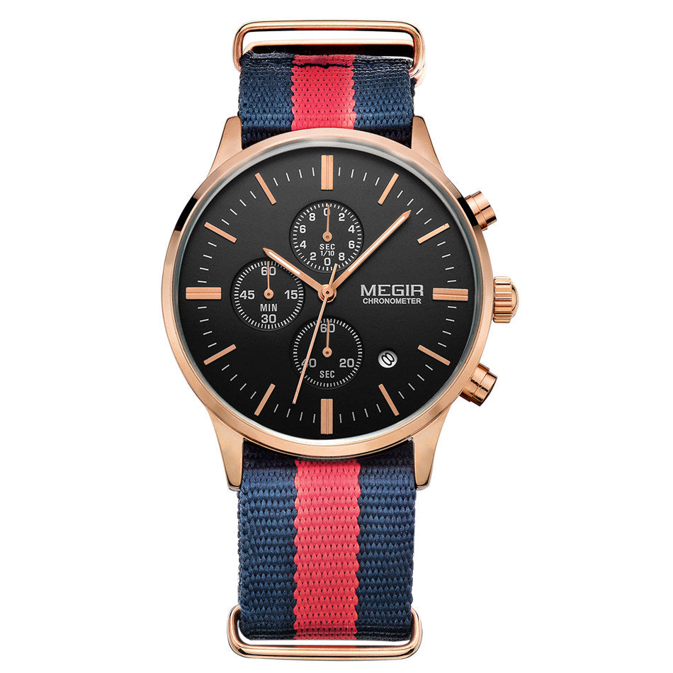 Red and Blue Straps Chronograph Watch