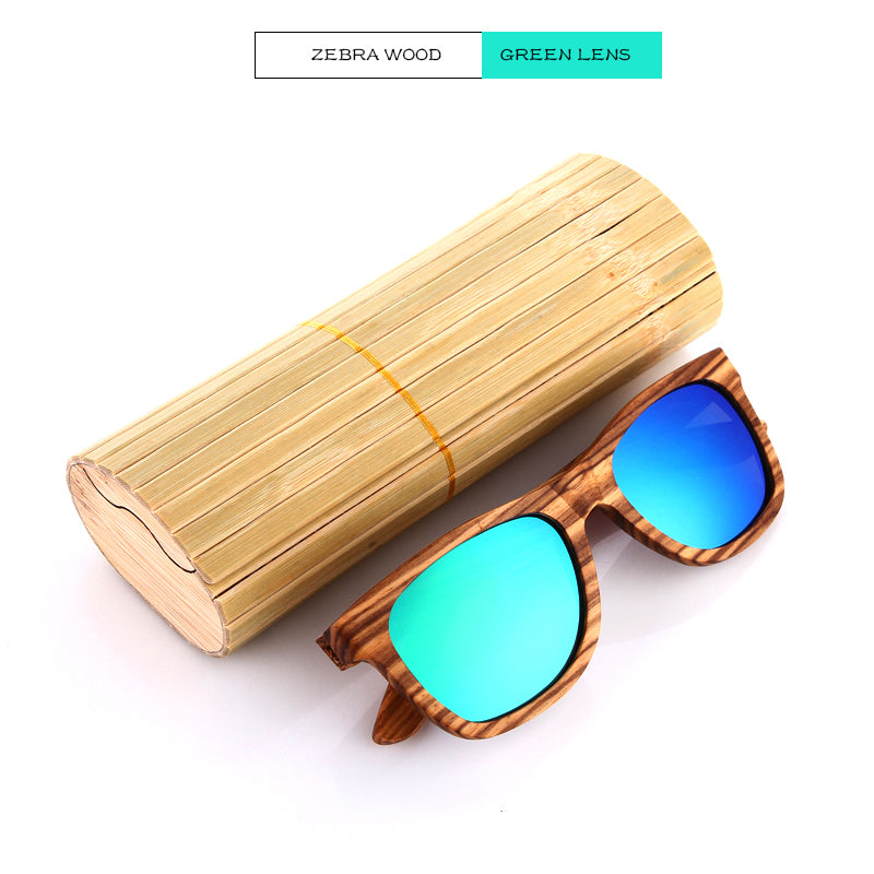 Blue Lens Wooden Sunglasses