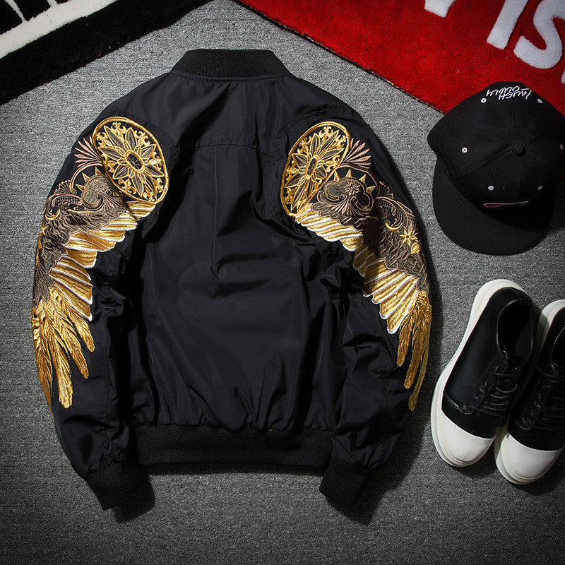 gold embroidered bomber jacket