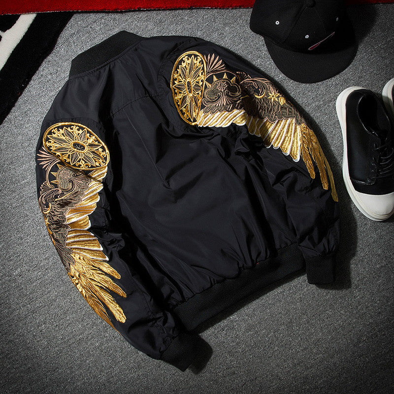 gold embroidery bomber jacket