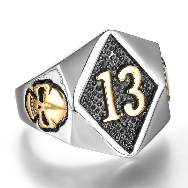 gold lucky 13 biker ring