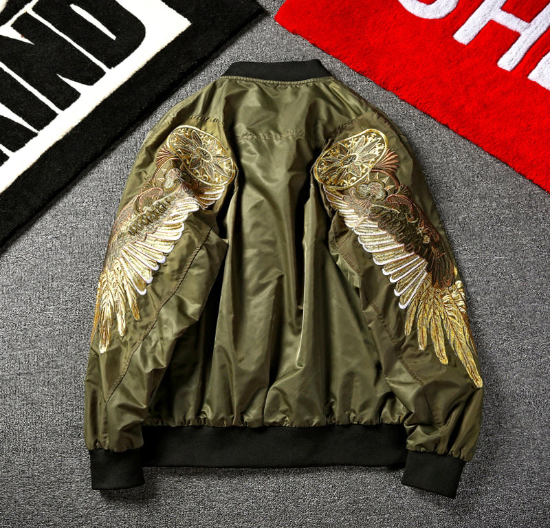 olive embroidered bomber jacket